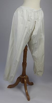 Museum Deaccession Antique Pantaloons in White Cotton Split Bottom Bloomers