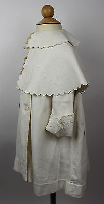 Antique White Cotton Child's Jacket with Floral Embroidery