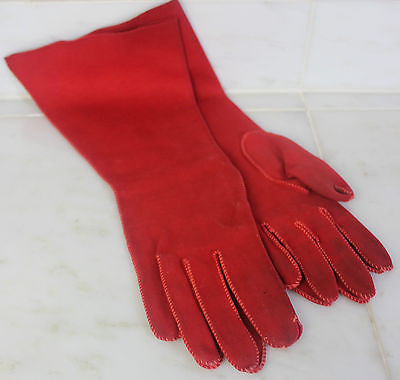 Vintage Pair of Red Cloth Gloves