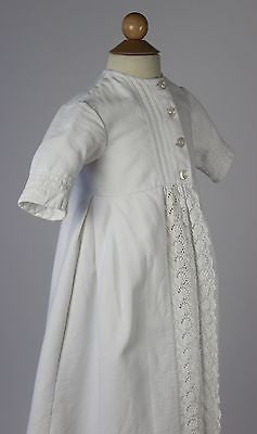 Antique Child's White Cotton Jacket with Floral Trim and Mother of Pearl Buttons
