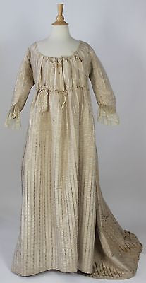 MET Museum White Moire Polychrome Floral Striped Unusual Gown American c.1795