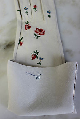 Antique Pair of Women's White Leather Gloves with Colorful Floral Embroidery