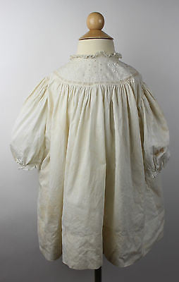 Antique White Cotton Child's Dress Wth Embroidery