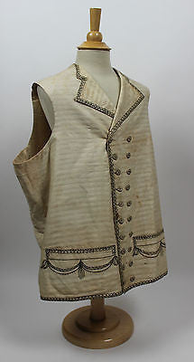 Gentlemen's 18th Century Cotton Waistcoat with Metallic Embroidery