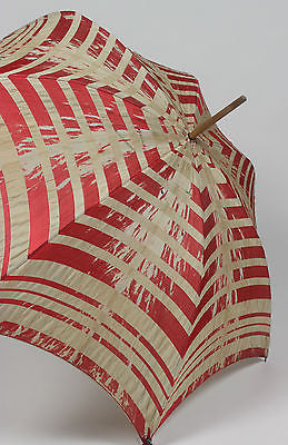 Antique Red and White Cotton Umbrella with Wooden Loop Handle