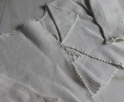 Vintage Antique White Cotton Knitted Baby's Jacket or Doll's Jacket