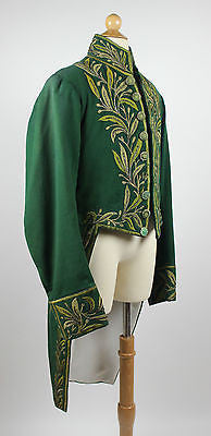 Gentlemen's 19th Century Green Cloth Tailcoat with Beaded Embroidery