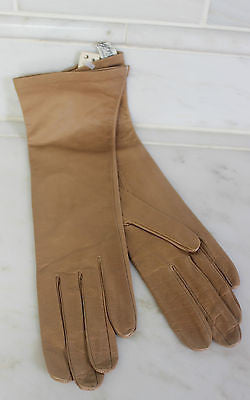 Antique Pair of Brown Leather Long Gloves Made in France for Saks Fifth Avenue