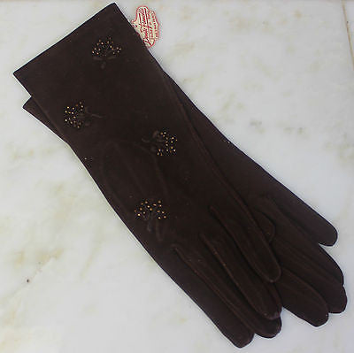 Antique Pair of Brown Suede Gloves with Beaded Trim Made in France