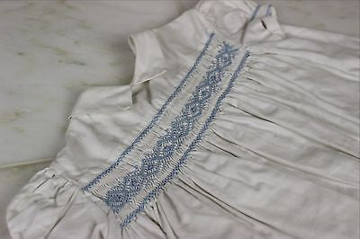 Vintage Antique White Cotton Pleated Baby's Dress or Doll's Dress