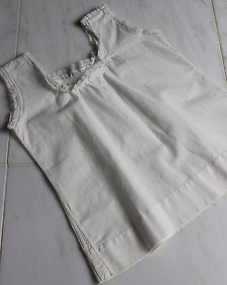 Antique White Cotton Girls Dress with Blue Lace Trim