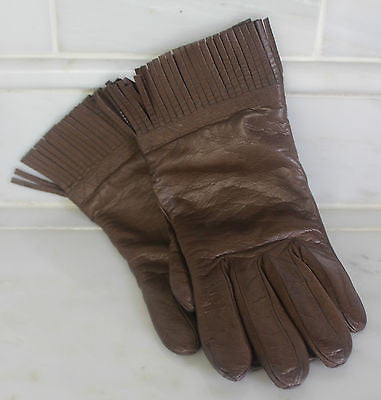 Vintage Pair of Women's Brown Leather Gloves with Leather Fringe Made in Italy