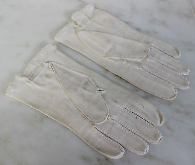 Antique Pair of White Gloves with Beaded Trim