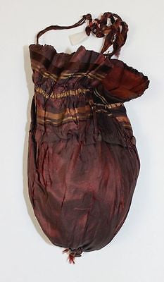 Antique Brown Silk Drawstring Purse from the Mid 19th Century