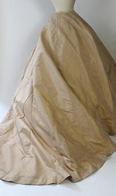 Ivory Shot Silk Taffeta Skirt with Long Train from the Mid 19th Century