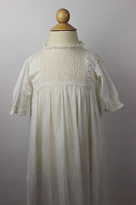 Antique White Cotton Child's Christening Gown with Matching Slip
