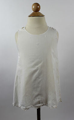 Antique White Cotton Child's Dress with floral and Heart Embroidery