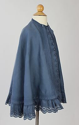 Lovely Antique Child's Cape in Lilac Cotton Self Fabric Button Closure