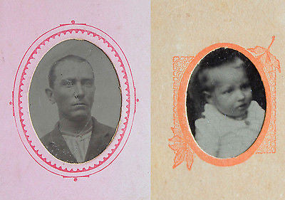 Two Original Antique Tintypes Portrait of a Man and a Baby 19th Century