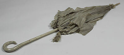 Antique White Silk Parasol with White Wooden Handle