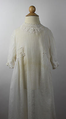 Antique White Cotton Child's Dress with Embroidery