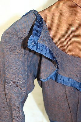 Antique Silk and Wool Blue and Brown Bodice c. 1890