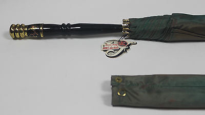 Authentic Vintage Green Umbrella with Pretty Floral Design Handle