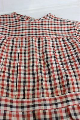 Antique Red Plaid Child's Dress with Pleats from the Early 20th Century