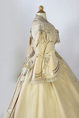 MET Museum Patriotic American Silk and Wool Wedding Gown with Cockades 1867-1869