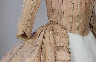MET Museum 18th Century Robe in Pink with Floral Silk French 1750-1799