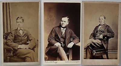 Three Original Carte de Visites CDVs Antique Photograph Mid 19th Century