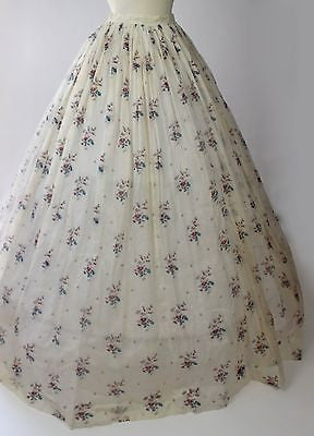 MET Museum Deaccession Floral Print White Cotton Skirt from the Mid 19th Century