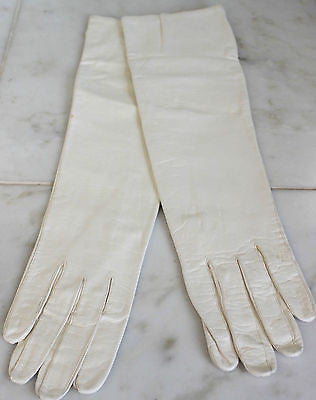 Antique Pair of Women's White Leather Long Opera Gloves
