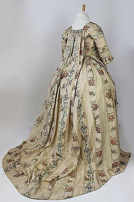 MET Museum 18th Century Brocade Harps & Floral Pattern Sacque Back Gown 1750-80