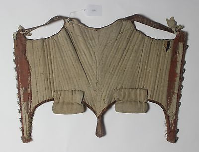 MET Museum Stays 18th Century Brocade Gold Lace Corset Stag & Bird Figural Hooks