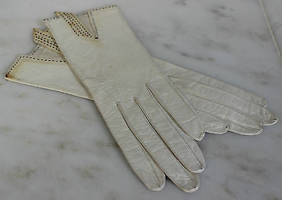Antique Pair of White Leather Gloves with Black Stitched Trim