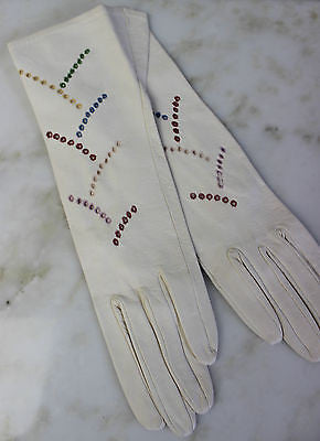 Vintage Pair of Women's White Leather Gloves with Colorful Embroidery