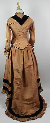 19th Century Silk Two Piece Bustle Gown with Velvet Trim