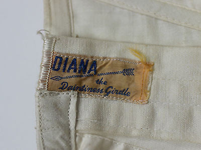 Vintage Women's White Cotton Corset Girdle with Blue Stitching by Diana
