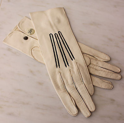 Antique Pair of White Gloves with Black Stitched Trim
