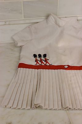 Antique White Pleated Child's Dress Three Queens Guards in Embroidery British