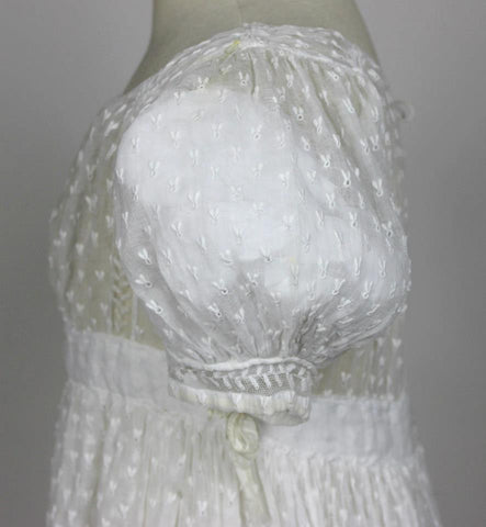 White Cotton Embroidered Regency Gown c. 1820