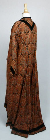 Woman's Wool Paisley Robe with Velvet Trim Mid 19th Century