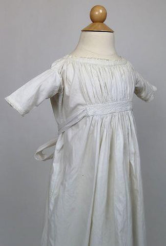 Child's White Cotton Dress from the Early to Mid 19th Century