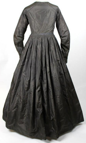 Black Silk Mourning Gown from the Mid 19th Century