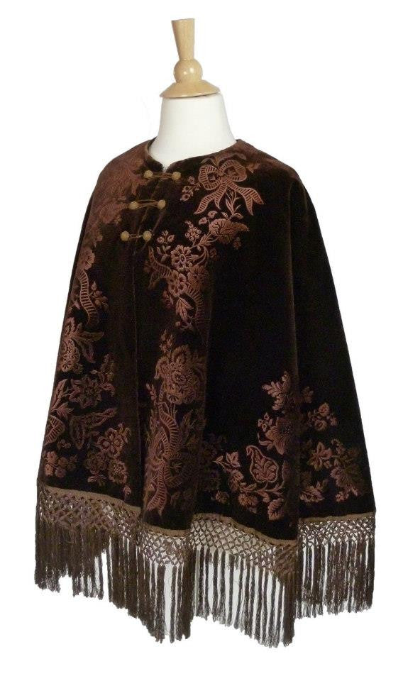 Chocolate Brown Embossed Velvet Cape from the Late 19th Century