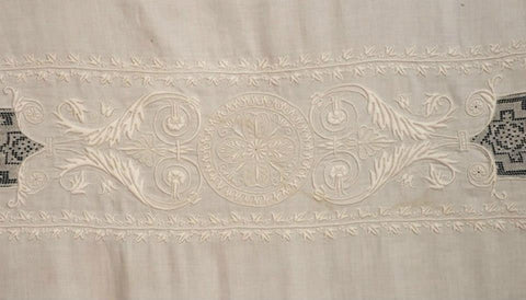 Antique Fine Linen Embroidered Tablecloth in Satin Stitch & French Knots Eagles