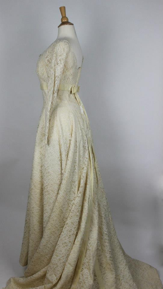 Saks Fifth Avenue Ivory Lace Wedding Gown From The 1950s Sarah