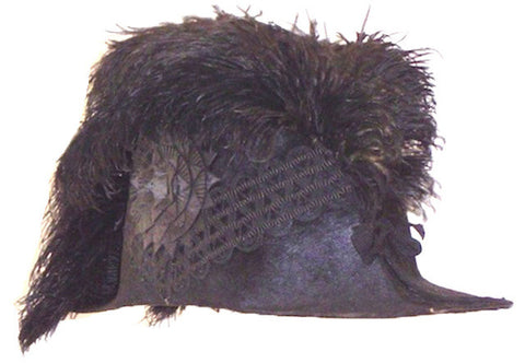 American bicorn hat with cockade, trim and ostrich feather from the prominent Dyer family of Rhode Island c. late 19th century