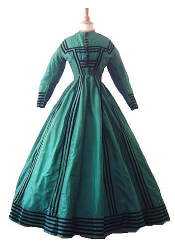 Emerald Green Silk Afternoon Gown with Jacket, 1860's